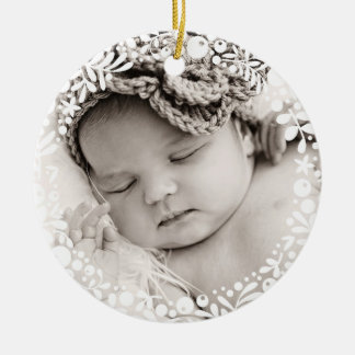 Ornement Rond En Céramique Rose blanc de guirlande de baie de premier Noël de