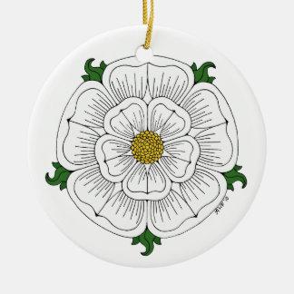 Ornement Rond En Céramique Rose blanc de York