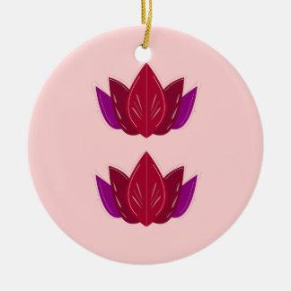 Ornement Rond En Céramique Rose de lotus de santé