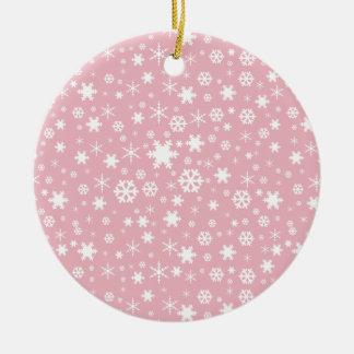 Ornement Rond En Céramique Rose en pastel de Noël de motif élégant de flocon