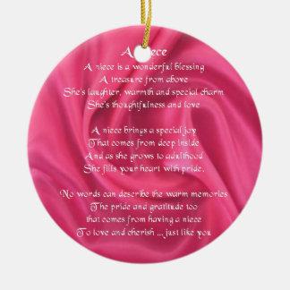 Ornement Rond En Céramique Rose - poème de nièce