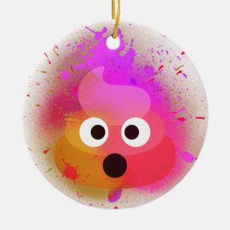 Ornement Rond En Céramique Rose/pourpre de peinture de jet de dunette d'Emoji
