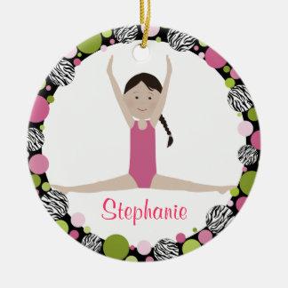 Ornement Rond En Céramique Roses de cheveux de Brown foncé de gymnaste