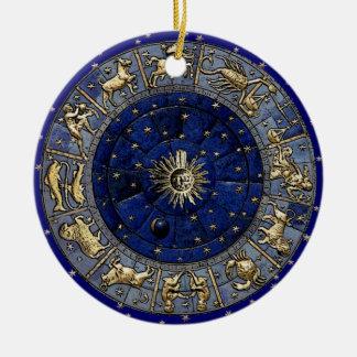Ornement Rond En Céramique Roue de zodiaque