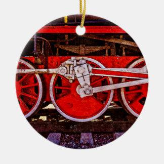 Ornement Rond En Céramique Roues vintages de train de vapeur