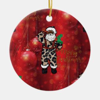 Ornement Rond En Céramique rouge africain de Claus de léopard de père Noël