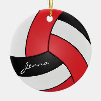 Ornement Rond En Céramique Rouge, blanc et noir personnalisez le volleyball