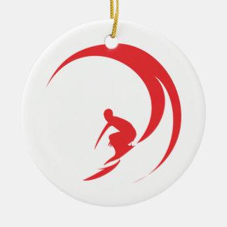 Ornement Rond En Céramique Rouge de surfer