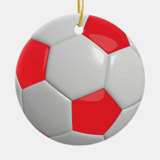 Ornement Rond En Céramique Rouge du ballon de football |