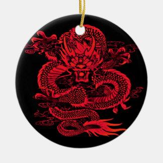 Ornement Rond En Céramique Rouge épique de dragon