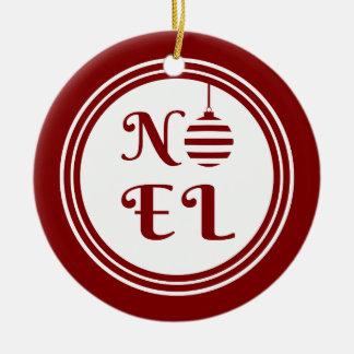 Ornement Rond En Céramique Rouge et blanc de vacances de Noël de NOEL