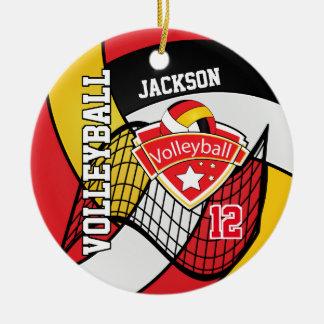 Ornement Rond En Céramique Rouge, noir, blanc et volleyball d'or