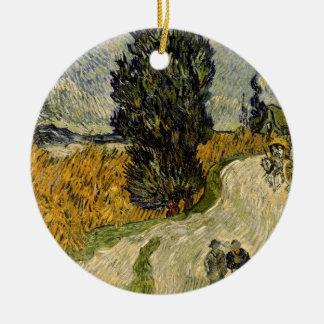 Ornement Rond En Céramique Route de Vincent van Gogh | avec des cyprès, 1890