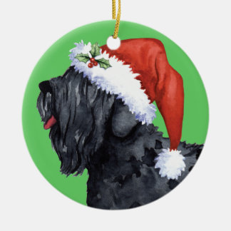 Ornement Rond En Céramique Russe noir heureux Terrier de Howliday