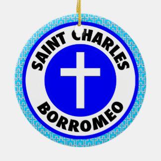 Ornement Rond En Céramique Saint Charles Borromeo