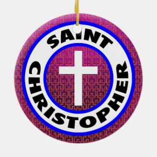 Ornement Rond En Céramique Saint Christopher