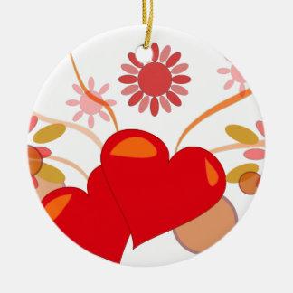 Ornement Rond En Céramique saint-valentin