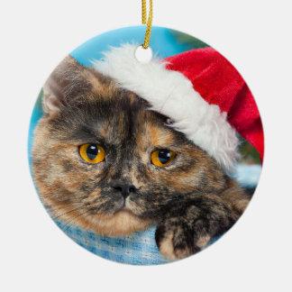Ornement Rond En Céramique Saison des vacances de Ronronnement-fect de chat