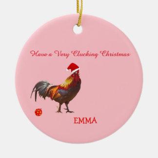 Ornement Rond En Céramique Salutation de Noël de poulet d'amusement