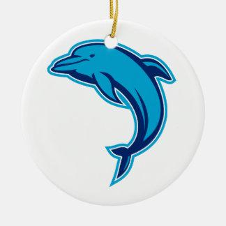 Ornement Rond En Céramique Sauter bleu de dauphin rétro