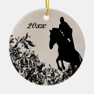 Ornement Rond En Céramique Sauter équestre du cheval du couple personnalisé