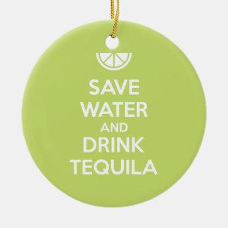 Ornement Rond En Céramique Sauvez l'eau et buvez la tequila