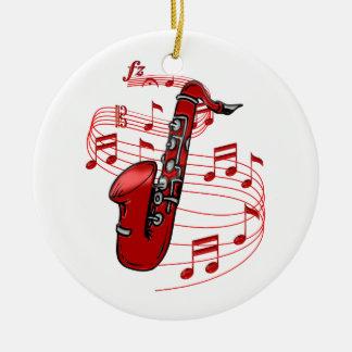 Ornement Rond En Céramique Saxo rouge avec des notes de musique