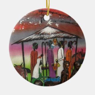 Ornement Rond En Céramique Scène africaine de nativité de Noël
