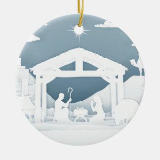 Ornement Rond En Céramique Scène de chrétien de Noël de nativité