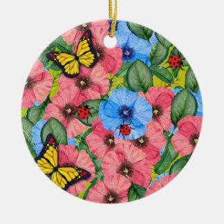 Ornement Rond En Céramique Scène florale