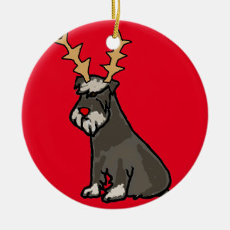 Ornement Rond En Céramique Schnauzer drôle avec Noël d'andouillers de renne