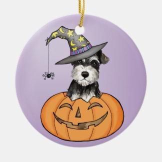 Ornement Rond En Céramique Schnauzer miniature de Halloween