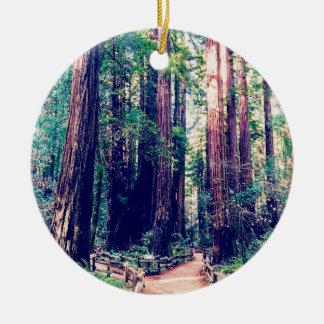 Ornement Rond En Céramique Séquoias de Californie