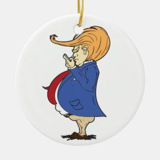 Ornement Rond En Céramique Service de mini-messages de Donald Trump