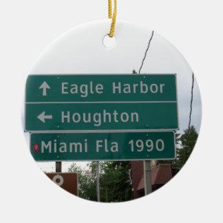 Ornement Rond En Céramique Signe de Miami