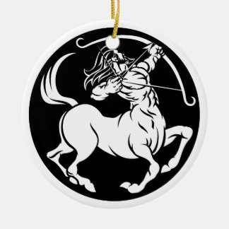 Ornement Rond En Céramique Signe de zodiaque de Sagittaire de centaure