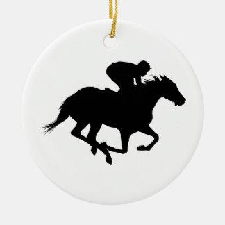 Ornement Rond En Céramique Silhouette de cheval de course