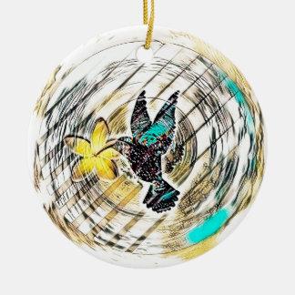 Ornement Rond En Céramique Silhouette de colibri