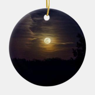 Ornement Rond En Céramique Silhouette de lune