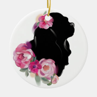 Ornement Rond En Céramique Silhouette florale cavalière de l'ornement | de