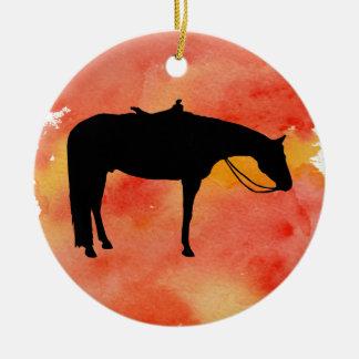 Ornement Rond En Céramique Silhouette occidentale noire de cheval sur