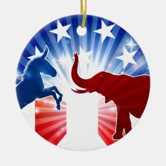 Ornement Rond En Céramique Silhouettes de mascottes d'éléphant et d'âne