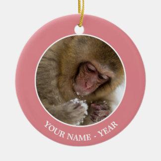 Ornement Rond En Céramique Singe japonais de neige du Macaque | de bébé