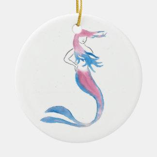 Ornement Rond En Céramique Sirène colorée