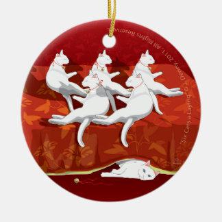 Ornement Rond En Céramique Six un-Poses de chats… Arbre de Noël