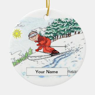 Ornement Rond En Céramique Skieur, neige - mâle