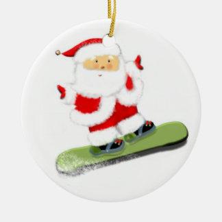 Ornement Rond En Céramique Snowboarding Père Noël