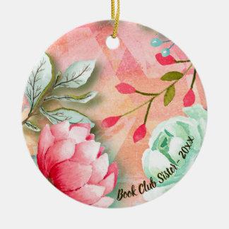 Ornement Rond En Céramique Soeur florale de club de lecture de fleur élégante