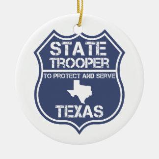 Ornement Rond En Céramique Soldat de la cavalerie d'état du Texas à protéger
