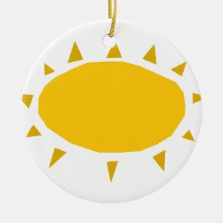Ornement Rond En Céramique Soleil, Sun brillant, bande dessinée